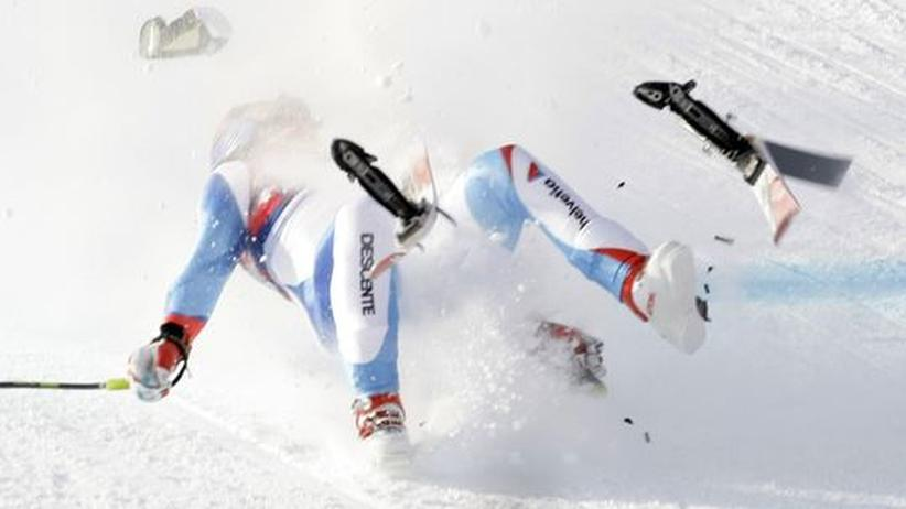 Daniel Albrecht: Der Schweizer Skirennfahrer Daniel Albrecht bei seinem Sturz am 22. Januar 2009 in Kitzbühel