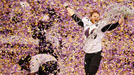 Spieler der Baltimore Ravens feiern ihren Sieg gegen San Francisco beim Super Bowl in New Orleans.