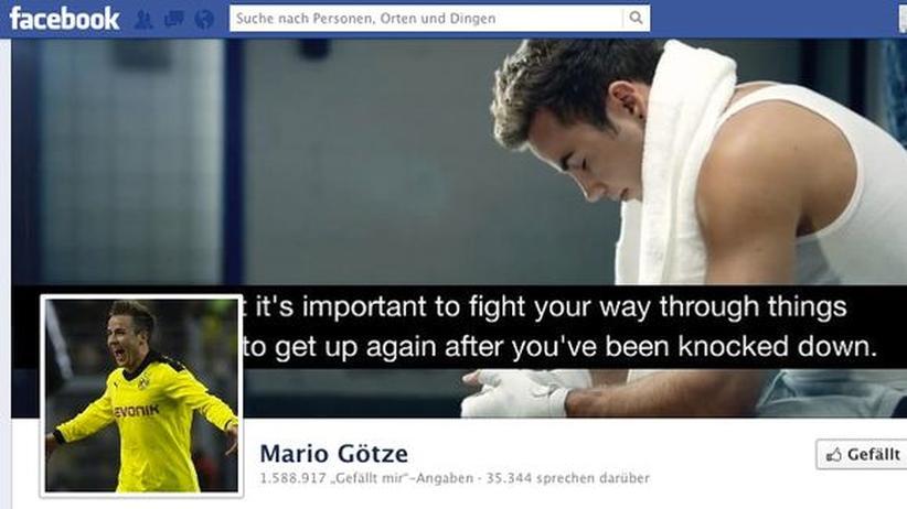 Ein Screenshot der Facebook-Seite von Mario Götze