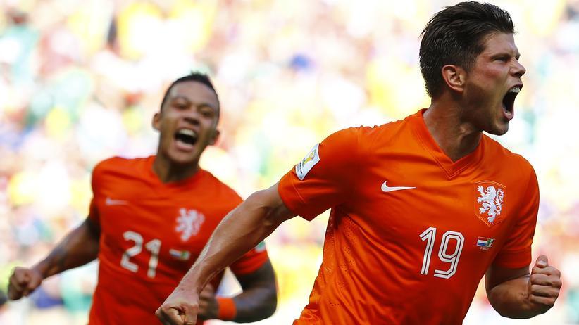 Fußball-WM Achtelfinale: Klaas-Jan Huntelaar schoss die Niederländer ins WM-Viertelfinale.