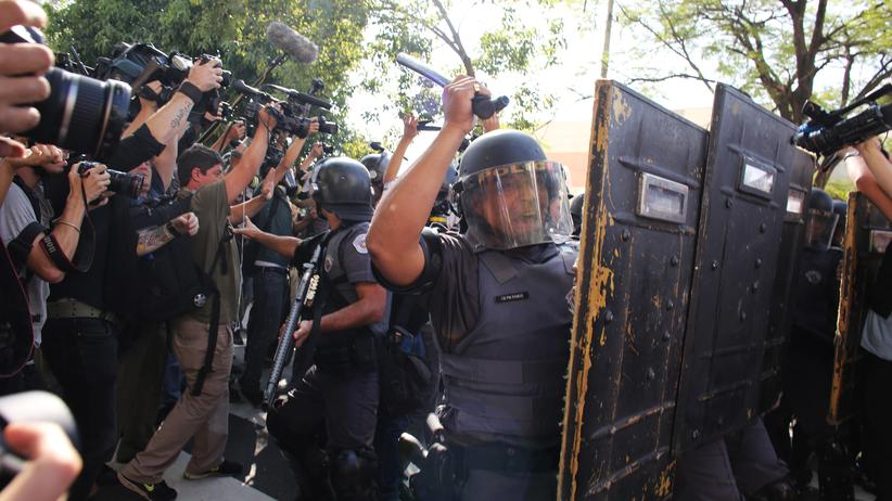 São Paolo: Polizisten bei dem Einsatz gegen Demonstranten in São Paulo