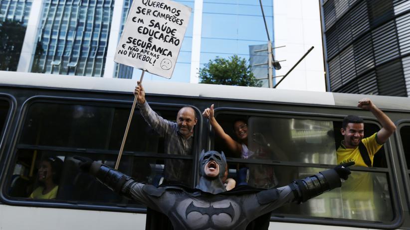 Eron Morais Melo bei einer Anti-WM-Demo in Rio de Janeiro