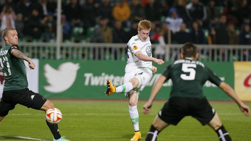 Wolfsburger Kevin De Bruyne trifft im Europa-League-Spiel gegen Krasnador