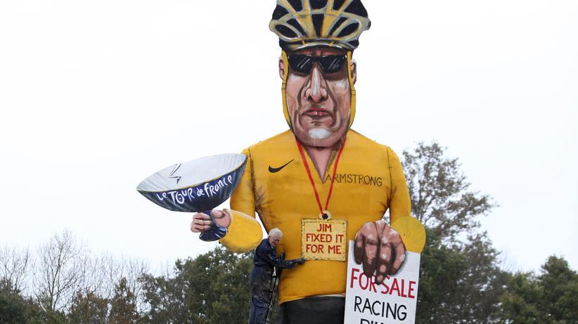 UCI: Ein Bild des britischen Künstlers Frank Shepherd zeigt Lance Armstrong.