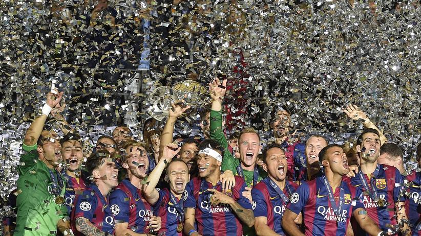Konfetti bitte für die Spieler des FC Barcelona