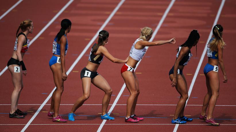 Teilnehmerinnen des 4x400-Meter-Rennens der Leichtathletik-EM 2014 in Zürich
