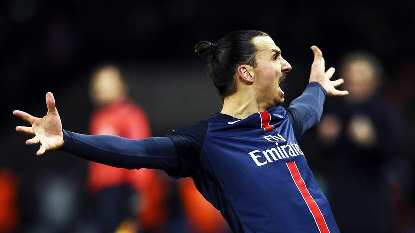 Champions League: Paris Saint-Germains Stürmer Zlatan Ibrahimovic beim Torjubel.