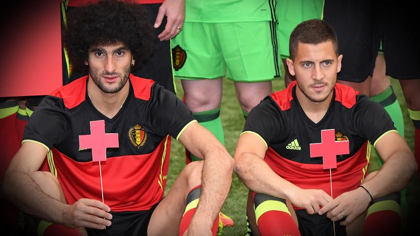 Marouane Fellaini und Eden Hazard
