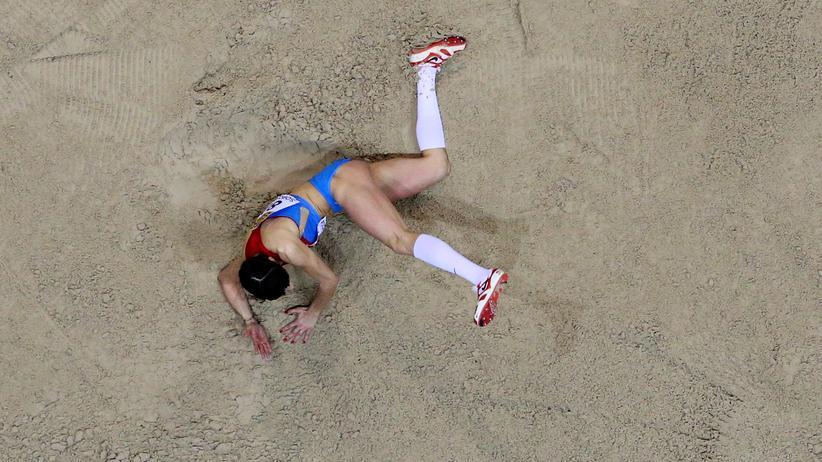 Olympia 2016: Eine russische Weitspringerin während der Weltmeirtschaft im März 2014