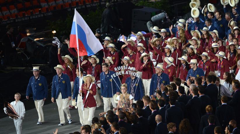 Die russischen Olympioniken bei der Eröffnungsfeier der Olympischen Spiele 2012. In Rio werden die Leichtathleten fehlen.