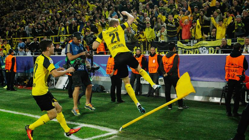 Borussia Dortmund - Real Madrid: Wird man bald wohl öfter sehen: jubelnde Dortmunder
