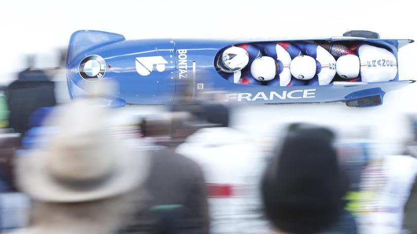 Der Bob Frankreichs während der Weltmeisterschaften im Februar in Innsbruck.