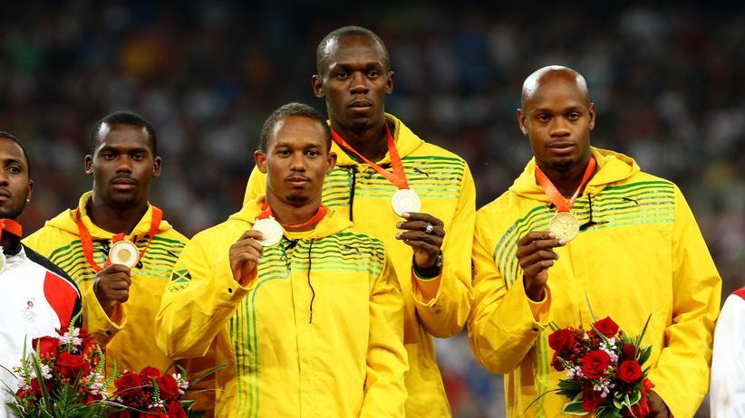 Olympische Spiele: Nicht nur diese vier jamaikanischen Sprinter gewannen Gold bei den Olympischen Spielen in Peking (von links nach rechts): Nesta Carter, Michael Frater, Usain Bolt and Asafa Powell