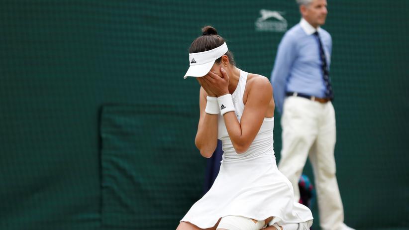 Wimbledon : Die spanische Tennisspielerin Garbiñe Muguruza nach ihrem ersten Sieg in Wimbledon.