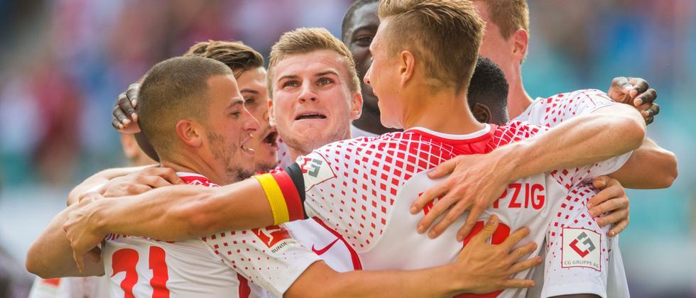 Freude: Die Spieler von RB Leipzig