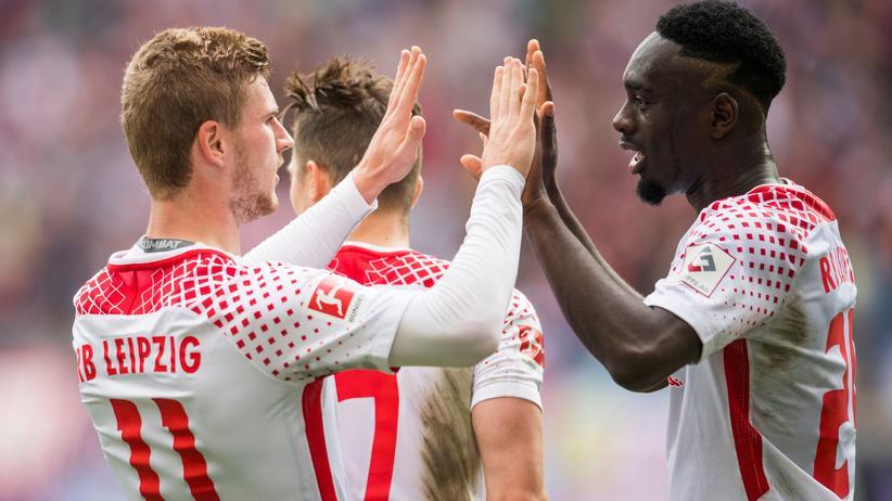 Der Osten ist verknallt: Timo Werner (links) und Jean-Kevin Augustin von RB Leipzig
