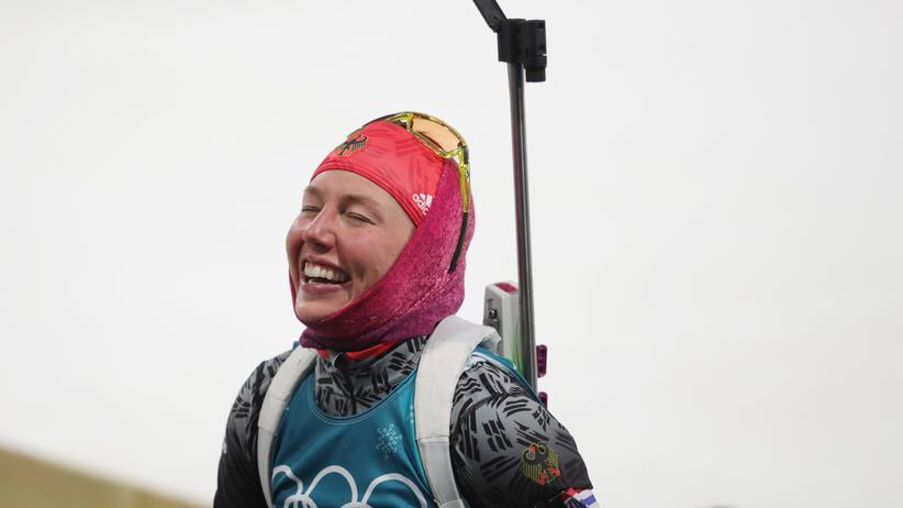 Laura Dahlmeier: Laura Dahlmeier wusste beim Zieleinlauf: Das reicht mindestens für eine Medaille.