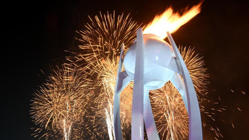 Brennt jetzt zwei Wochen lang: das olympische Feuer in Pyeongchang.
