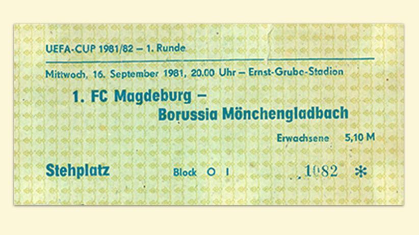 DDR: Eintrittskarte zur Uefa-Cup-Partie der Gladbacher in Magdeburg