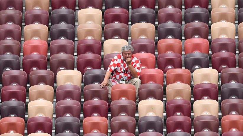 Fußball-WM: Bald nicht mehr einsam: ein kroatischer Fan.