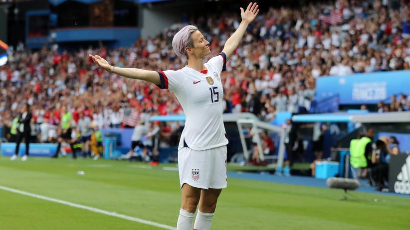 Frauenfußball-WM: Megan Rapinoe aus dem US-Team feiert ihr erstes Tor im Viertelfinale gegen Frankreich während der Frauenfußball-WM 2019.