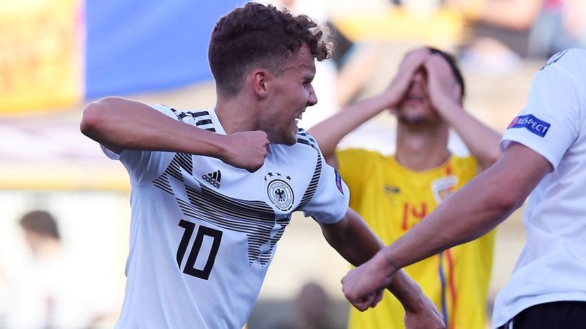 U21-EM: Luca Waldschmidt feiert seinen Ausgleichstreffer zum 2:2. Mit sieben Turniertoren steht er auf Platz eins der EM-Torschützenliste.