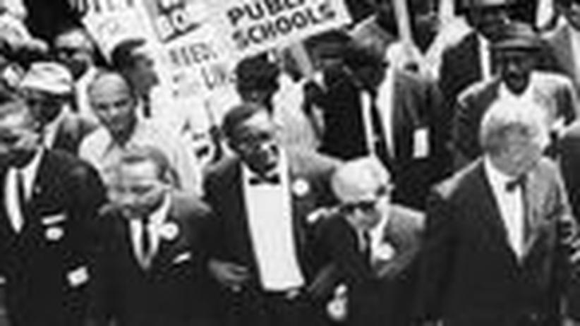 University of Mississippi: James H. Meredith neben Martin Luther King beim Marsch auf Washington für Arbeit und Freiheit am 28. August 1963
