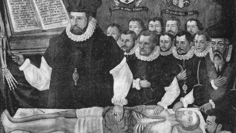 Der britische Anatom John Banester in einem Anatomiekurs im Jahr 1581