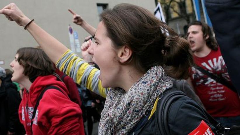 Studenten in München während der Bildungsproteste im Jahr 2009