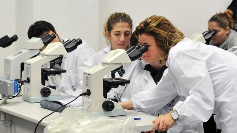 Biologie-Studenten bei einem Seminar an der Universität Rom III.