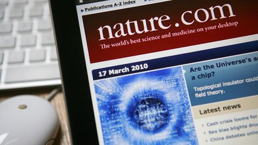 Die Website des Wissenschaftsmagazins Nature