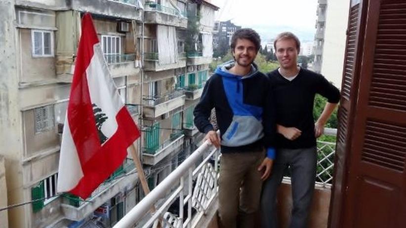 Studenten im Libanon: Die Dresdner Studenten Florian (l.) und Jonathan