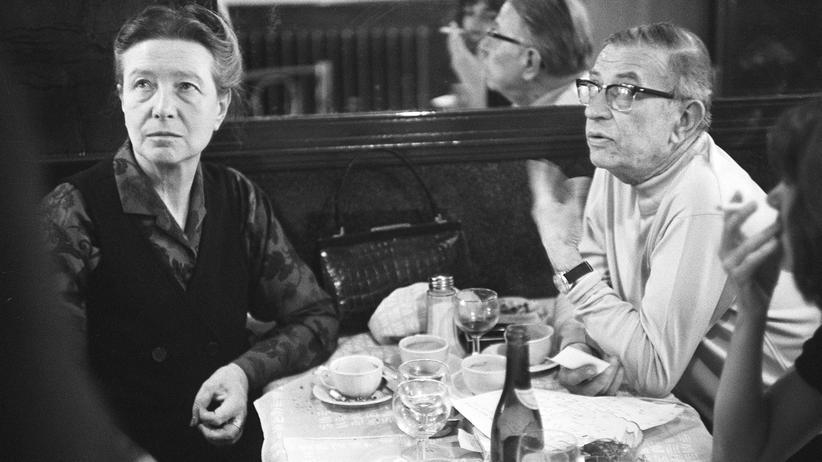 Jean-Paul Sartre und Simone de Beauvoir in einem Café