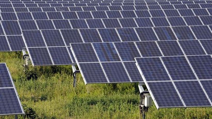 """Ökostrom: Ein Solarpark im ostdeutschen Bitterfeld bei Leipzig. Die Region, das so geannnte """"Solarvalley"""", wo sich zahlreiche Solarkonzerne niedergelassen haben, wehrt sich gegen die Einschnitte bei der Solarstromförderung."""