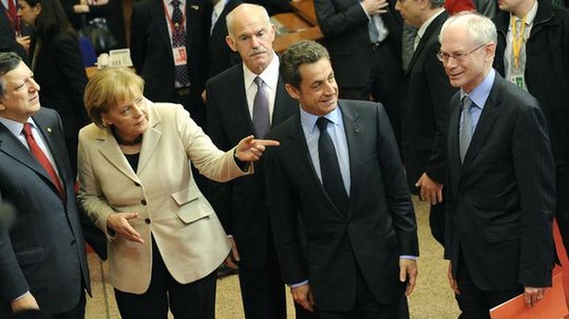 Jose Manuel Barroso, Angela Merkel, George Papandreou, Nicolas Sarkozy und Herman van Rompuy