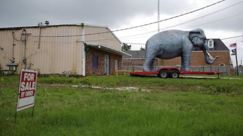 Finanzkrise: Zu verkaufen: Ein Trailer in einem Park in New Orleans, davor ein Plastikelefant