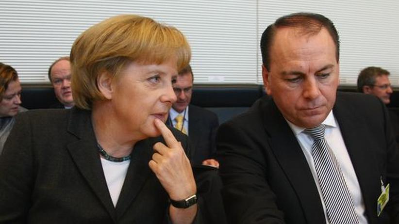 Axel Weber: Angela Merkel und Axel Weber auf einem CDU-Treffen im September 2008 in Berlin
