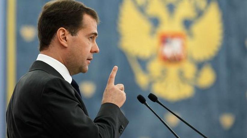 Russlands Präsident Dmitrij Medwedjew bei einer Rede in Moskau