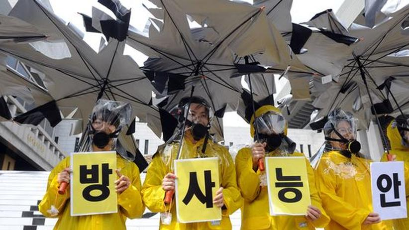 Südkorea: Aktivisten demonstrieren in Seoul gegen den Bau neuer Kernkraftwerke.