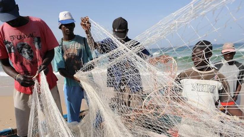 Fischereipolitik: Fischer am Strand von Kayar nahe Dakar/Senegal (Archiv)