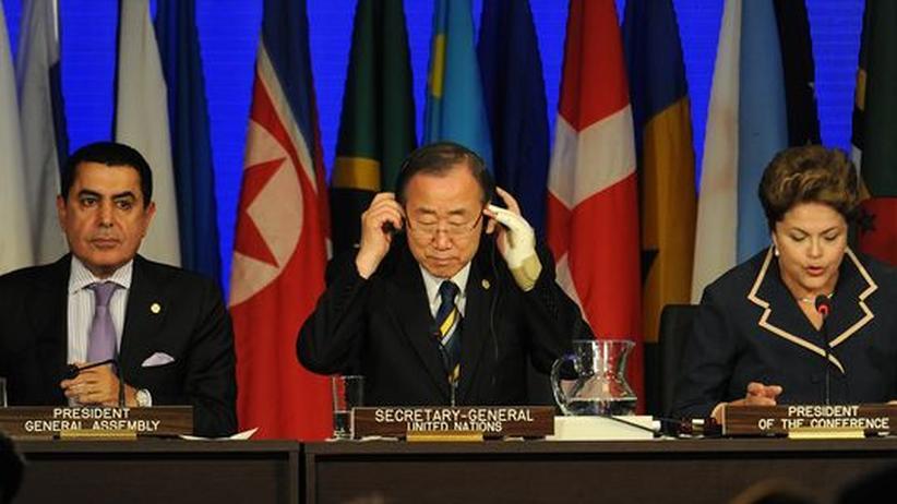 Der Präsident der Uno-Generalversammlung Nassir Abdulaziz al-Nasser, UN-Generalsekretär Ban Ki-Moon und Brasiliens Präsidentin Dilma Rousseff beim Rio+20-Gipfel