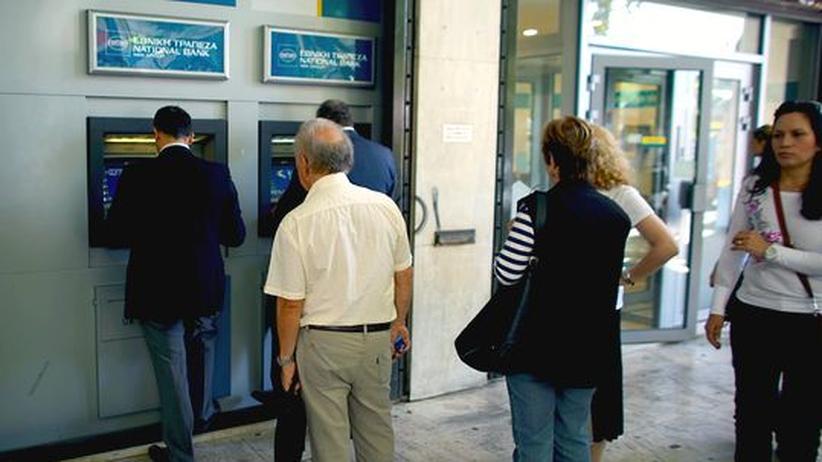 Eine Filiale der National Bank of Greece in Athen