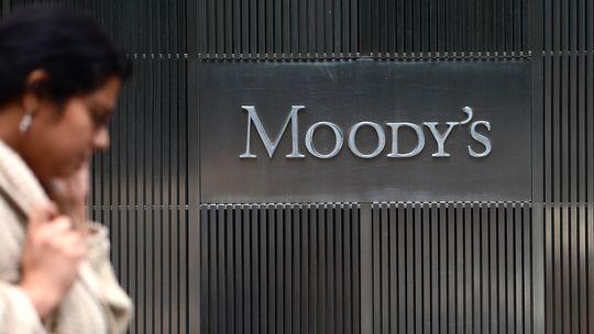 Das Logo der Rating-Agentur Moody's an der Hauptgeschäftsstelle in New York