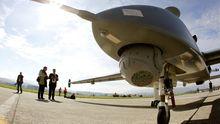 Hermes-Drohne des Herstellers Israel Aerospace Industries auf einer Präsentation in der Schweiz