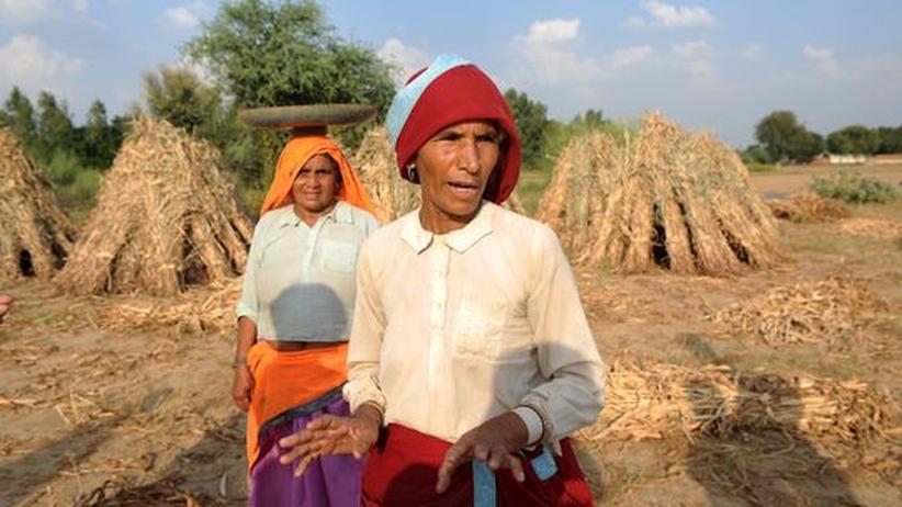 Büschelbohnen-Blase: Zwei Bauersfrauen im Dorf Budhi Bawal im indischen Bundesstaat Rajasthan (Archiv)