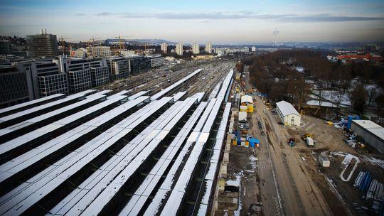 Ein Blick auf die Baustelle des künftigen Bahnhofs Stuttgart 21