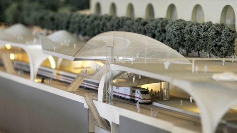 Bauprojekt: Ein Modell des Bahnhofsprojektes Stuttgart 21