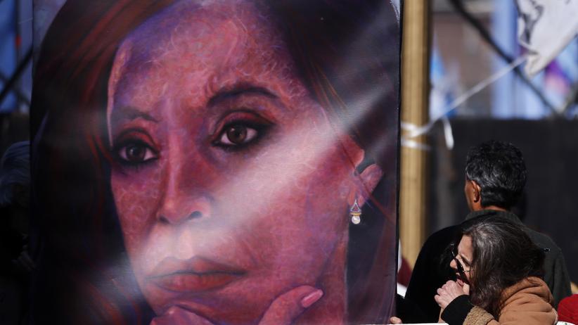 Argentiniens Präsidentin Cristina Kirchner auf einem Plakat in Buenos Aires