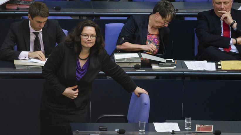 Arbeits- und Sozialministerin Andrea Nahles vor wenigen Wochen während einer Debatte über die Rentenreform im Bundestag