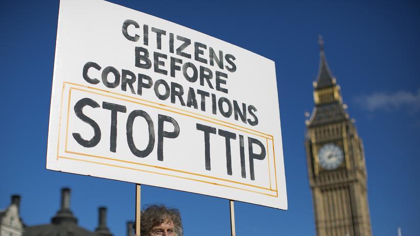 Freihandelsabkommen: Demonstration in London gegen das Freihandelsabkommen TTIP